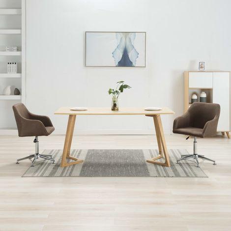 Hommoo Esszimmerstühle Drehbar 2 Stk. Braun Stoff VD24327