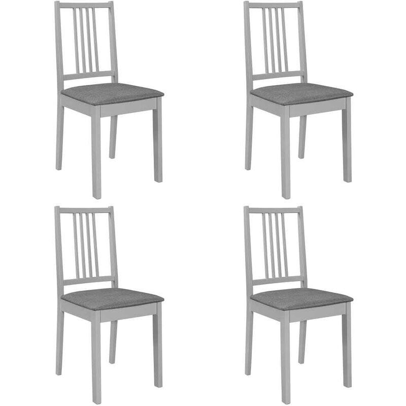 Esszimmerstühle mit Polstern 4 Stk. Grau Massivholz VD13493 - Hommoo