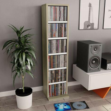 Hommoo Estantería CDs de aglomerado blanco y roble Sonoma 21x16x88 cm