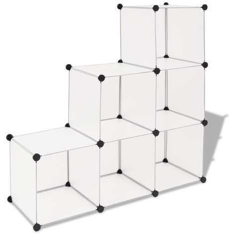 Hommoo Estantería de cubos con 6 compartimentos blanco