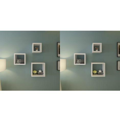 Hommoo Estantería de cubos para pared 6 unidades blanco