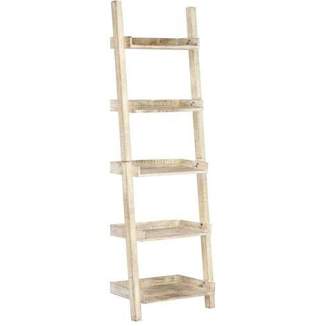Hommoo Estantería escalera blanca 75x37x205 cm madera maciza de mango