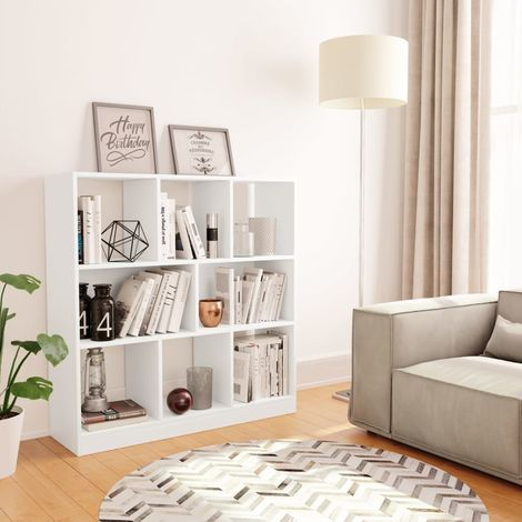 Hommoo Estantería librería de aglomerado blanco 97,5x29,5x100 cm