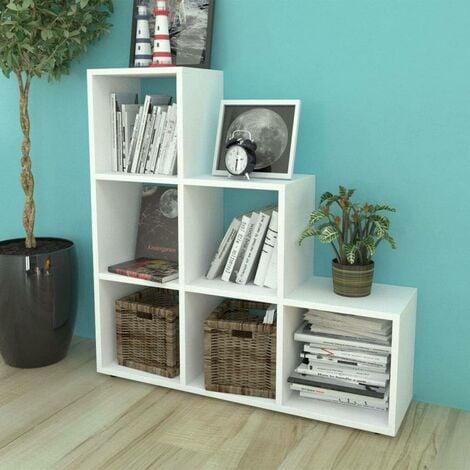 Hommoo Estantería librería en forma de escalera 107 cm blanca