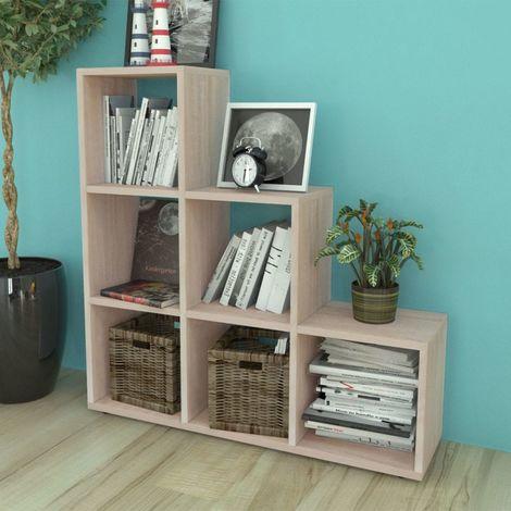 Hommoo Estantería librería en forma de escalera 107 cm color roble