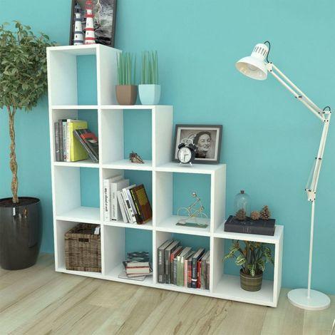 Hommoo Estantería librería en forma de escalera 142 cm blanca