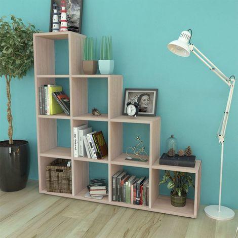 Hommoo Estantería librería en forma de escalera 142 cm color roble