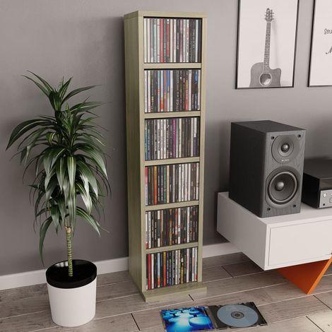 Hommoo Estantería para CD de aglomerado color roble Sonoma 21x16x88 cm