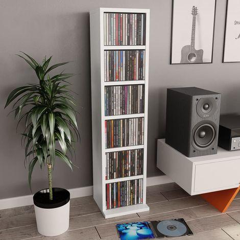 Hommoo Estantería para CDs de aglomerado blanco 21x16x88 cm