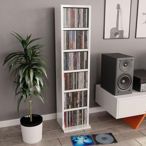 Hommoo Estantería para CDs de aglomerado blanco brillante 21x16x88 cm