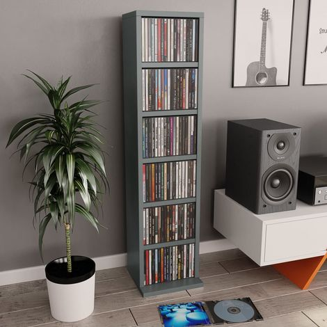 Hommoo Estantería para CDs de aglomerado gris 21x16x88 cm
