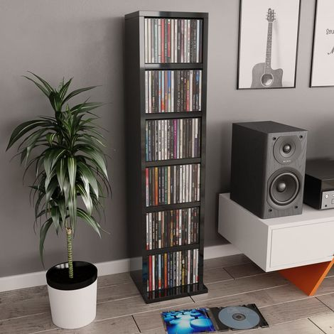 Hommoo Estantería para CDs de aglomerado negro brillante 21x16x88 cm
