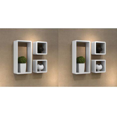 Hommoo Estanterías de cubos para pared 6 unidades blanco
