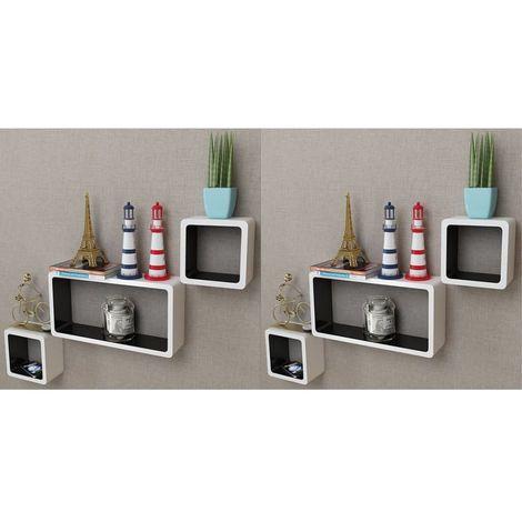 Hommoo Estanterías de cubos para pared 6 unidades blanco y negro