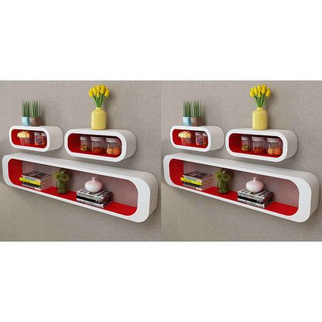 Hommoo Estanterías de cubos para pared 6 unidades blanco y rojo