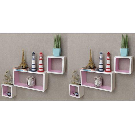 Hommoo Estanterías de cubos para pared 6 unidades blanco y rosa