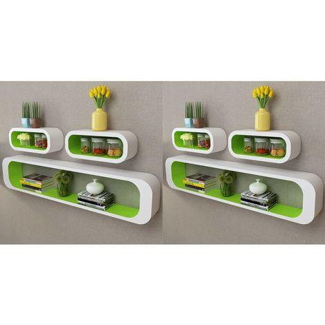 Hommoo Estanterías de cubos para pared 6 unidades blanco y verde