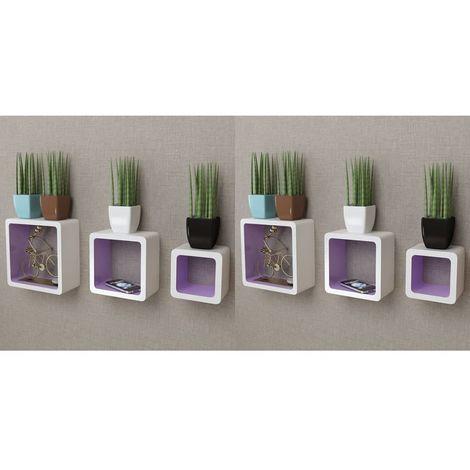 Hommoo Estanterías de cubos para pared 6 unidades blanco y violeta