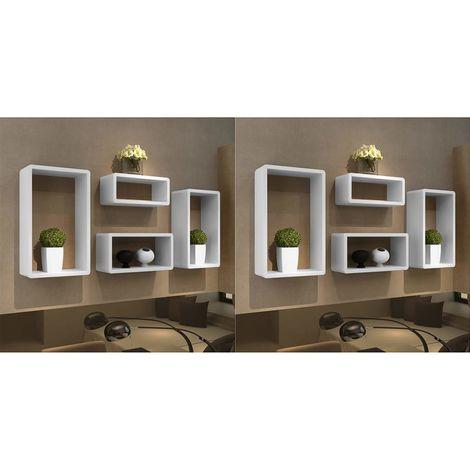 Hommoo Estanterías de cubos para pared 8 unidades blanco