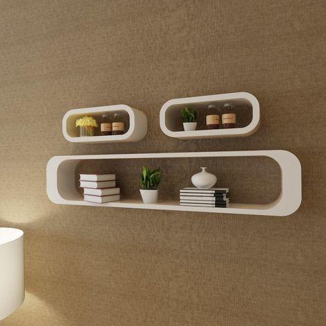 Hommoo Estantes de cubo de pared flotante MDF blanco 3 unidades