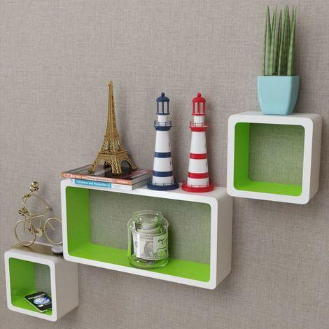 Hommoo Estantes de cubo de pared flotante MDF blanco-verde