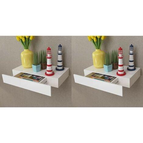Hommoo Estantes de pared flotantes con cajones 2 uds blanco 48 cm