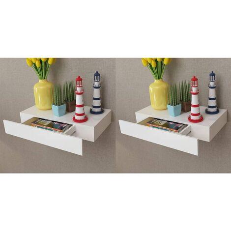 Hommoo Estantes de pared flotantes con cajones 2 uds blanco 48 cm HAXD18890