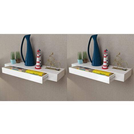 Hommoo Estantes de pared flotantes con cajones 2 uds blanco 80 cm HAXD18891