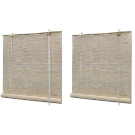 Hommoo Estores enrollables 2 unidades bambú natural 120x160 cm