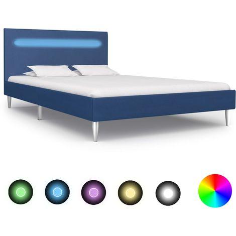 Hommoo Estructura de cama con LED tela azul 120x200 cm