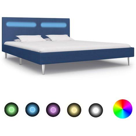 Hommoo Estructura de cama con LED tela azul 160x200 cm