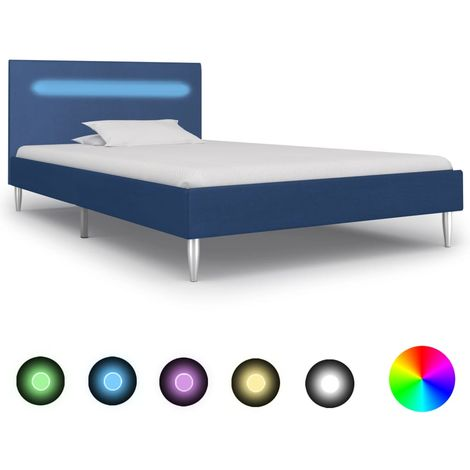 Hommoo Estructura de cama con LED tela azul 90x200 cm