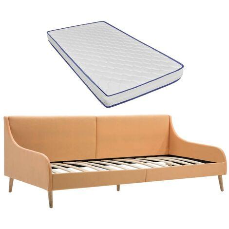 Hommoo Estructura sofá cama colchón espuma viscoelástica tela naranja