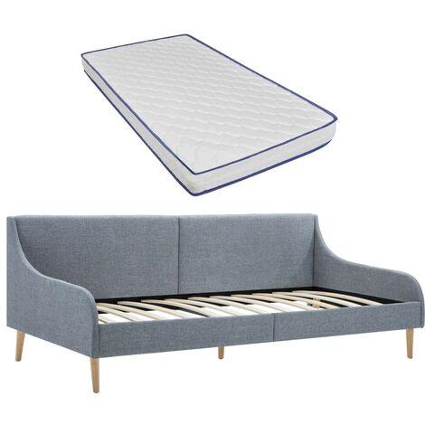 Hommoo Estructura sofá cama con colchón viscoelástico tela gris claro