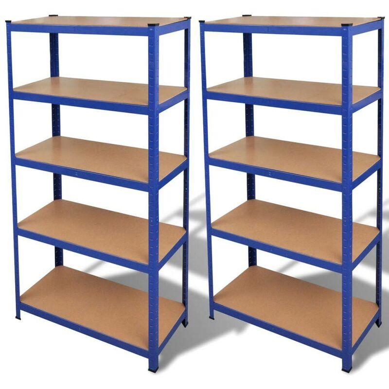 étagère de rangement 2 pcs Bleu HDV14968 - Hommoo