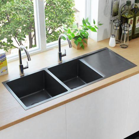 Hommoo évier de cuisine fait main avec crépine Noir Acier inoxydable