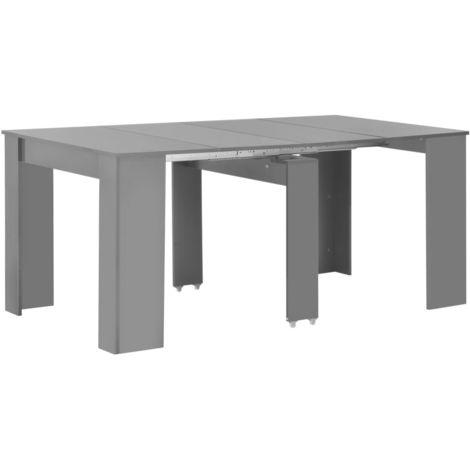 Hommoo Extendable Dining Table High Gloss Grey 175x90x75 cm