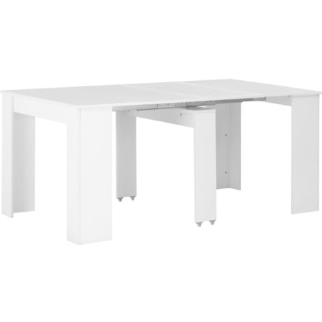 Hommoo Extendable Dining Table High Gloss White 175x90x75 cm