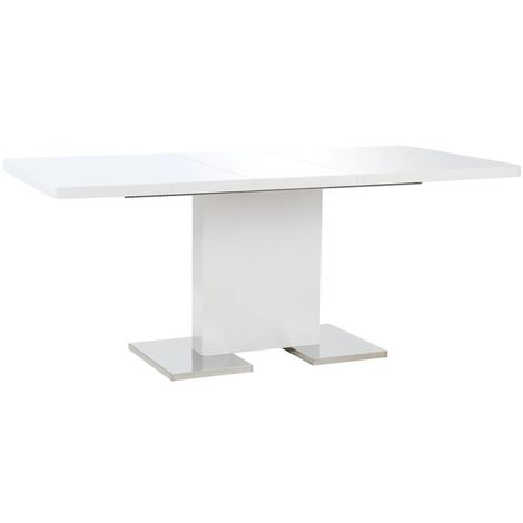 Hommoo Extendable Dining Table High Gloss White 180x90x76 cm MDF