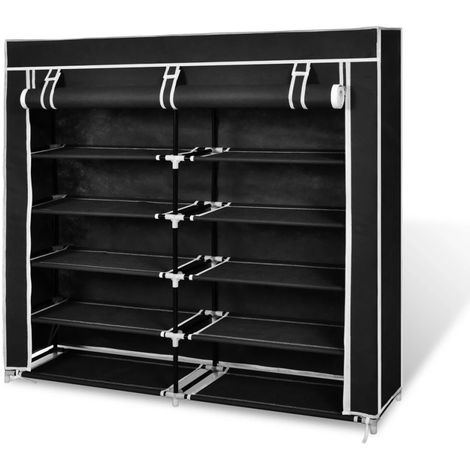 Hommoo Fabric Shoe Cabinet with Cover 115 x 28 x 110 cm Black