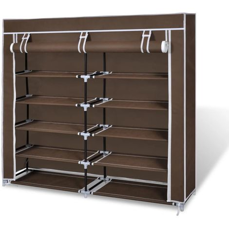 Hommoo Fabric Shoe Cabinet with Cover 115 x 28 x 110 cm Brown VD08225
