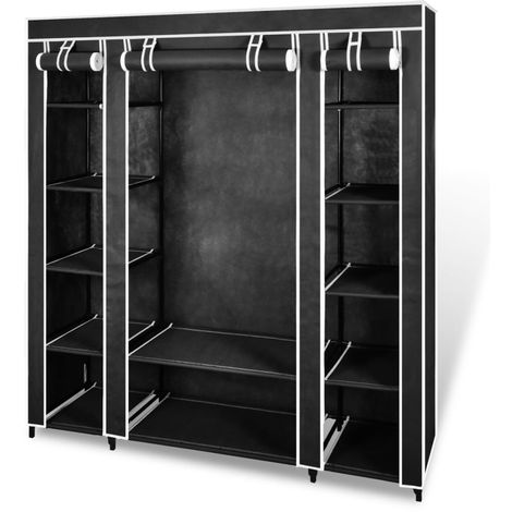 Hommoo Fabric Wardrobe with Compartments and Rods 45x150x176 cm Black VD08226