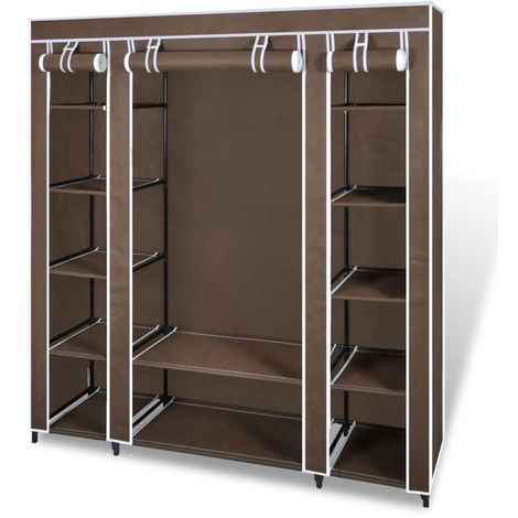 Hommoo Fabric Wardrobe with Compartments and Rods 45x150x176 cm Brown VD08227
