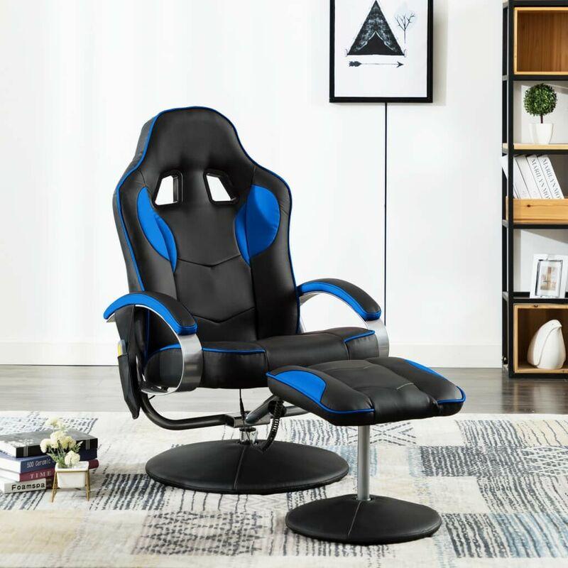 Fauteuil de massage avec repose-pied Bleu Similicuir HDV14428 - Hommoo