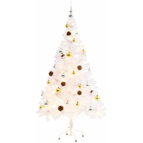 Hommoo Faux Christmas Tree Decorated with Baubles and LEDs 150cm White VD12326