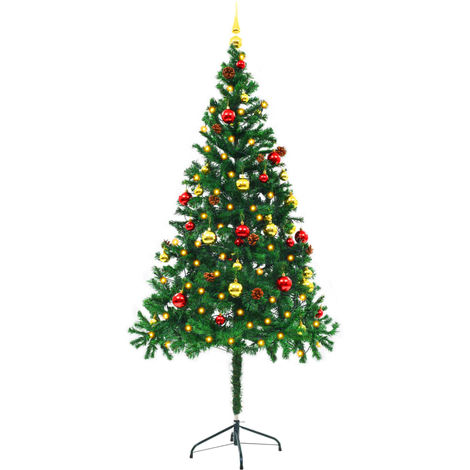 Hommoo Faux Christmas Tree Decorated with Baubles and LEDs 180cm Green