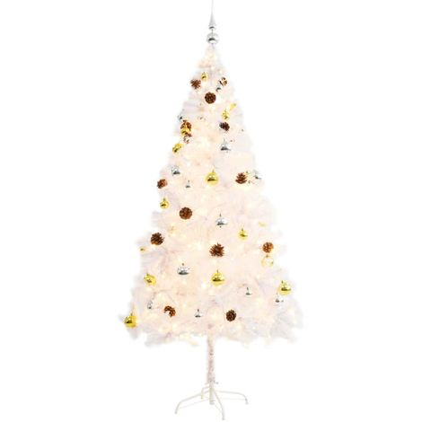 Hommoo Faux Christmas Tree Decorated with Baubles and LEDs 180cm White VD12327