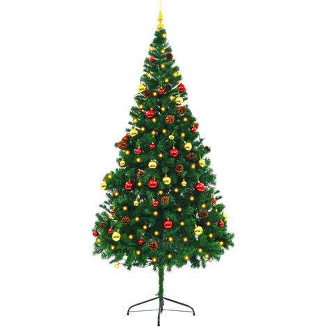Hommoo Faux Christmas Tree Decorated with Baubles and LEDs 210cm Green VD12325