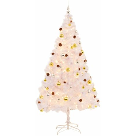 Hommoo Faux Christmas Tree Decorated with Baubles and LEDs 210cm White VD12328