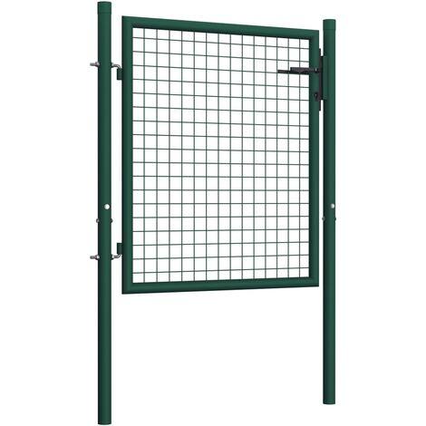 Hommoo Fence Gate Steel 100x125 cm Green QAH06527
